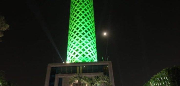 أشهر معالم القاهرة السياحية يتشح بلون علم المملكة في ذكرى اليوم الوطني